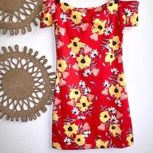 H&M Divided  Dress Size 10 Off Shoulder Floral
